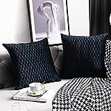 DEZENE Fundas de Cojín Decorativo a Rayas Negras: Paquete de 2 Fundas de Almohada Cuadradas de Terciopelo Originales de 45 cm x 45 cm para Sofá de Dormitorio