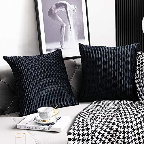 DEZENE Schwarz Gestreifte Dekorative Kissenbezüge: 2er Pack 40cmx40cm Original Velvet Square Kissenbezüge für Schlafzimmer Couch
