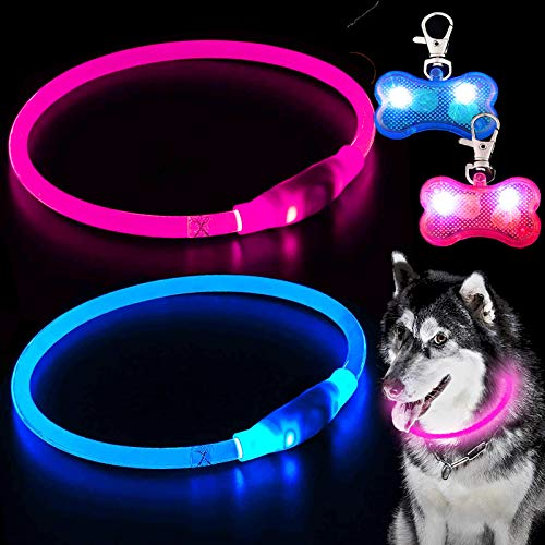 2 Pack LED Dog Collar with 2 Bone Light Up Dog Tag, USB Rechargeable, Water Resistant Cuttable Glowing Dog Collar for Night Safety, Glow in The Dark Pet Collar Increased Visibility Dog