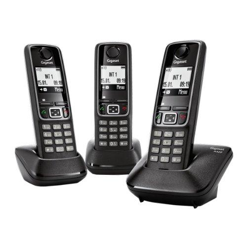 Gigaset Siemens A420 TRIO - 3 teléfonos fijos inalámbricos, color negro [Versión Importada]