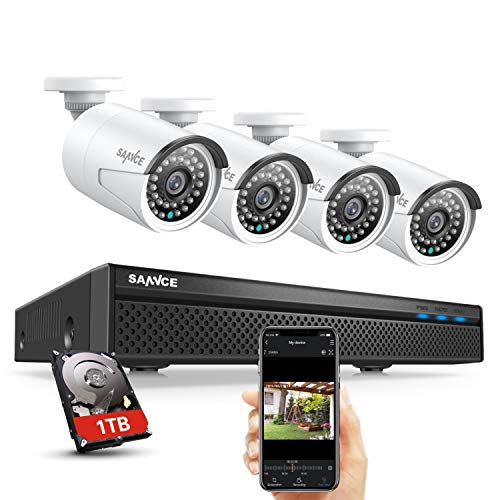 SANNCE 8CH 5MP POE CCTV System with (4) 1080P Outdoor Security IP Camera...