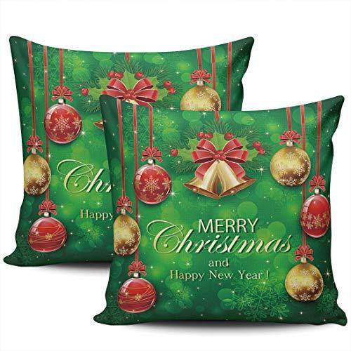 Decoración del hogar Fundas de Almohada Fundas Copos de Nieve Verdes Bolas de Navidad Campanas Doradas Fundas de Almohada con Lazo 45 * 45cm Juego de 2