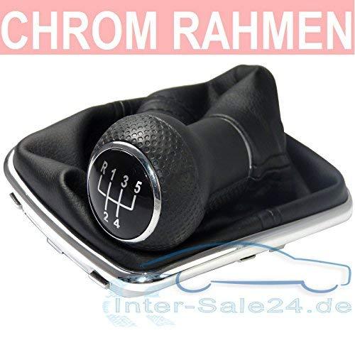 L & P Car Design L&P A251 Schaltsack Schaltmanschette Schwarz Schaltknauf 5 Gang 23mm kompatibel mit VW Golf 4 IV Chrom Rahmen Knauf Plug Play Ersatzteil für 1J0711113