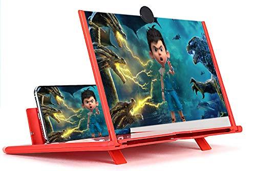 """Lupa de Pantalla para Teléfono 12"""",Amplificadores de Pantalla 3D HD,Extraíble,Dispositivo de Protección para los Ojos y Protección contra la Radiación,Adecuado para Todos los Teléfonos Móviles,Rosa"""