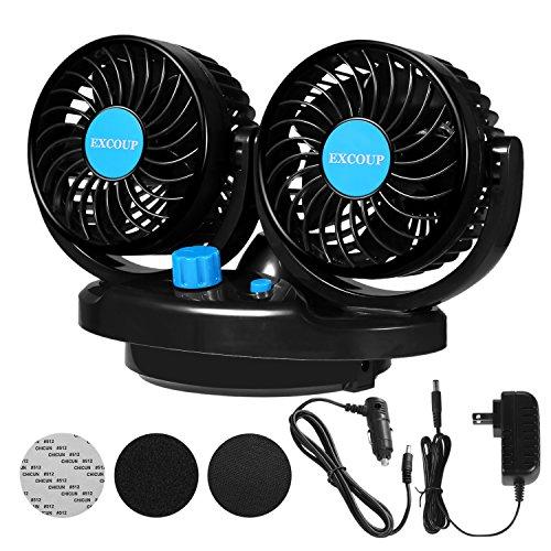 Ventilatore per Auto 12V con Spina Accendisigari+Adattatore, Doppia Testa e 2 Livelli di Velocità, Rotazione Automatica Sinistra e Destra, Ventola Raffreddamento per Auto, Casa, Ufficio