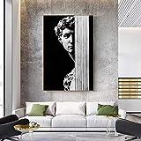 Wfmhra Estatua de David Solitario Abstracto Moderno Cuadro de Arte de la Lona Pared Gris Negro para el Cartel de la Sala de Estar impresión HD 70x100cm sin Marco