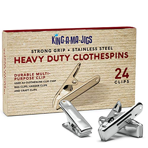 24 Pack - Long Lasting Stainless Steel Clothespins - Strong Grip - Weather-Resistant Multipurpose Clip - Use As Clothesline Laundry Clips Chip Bag Clips Hanger Clips and Craft Clips 24 Pack