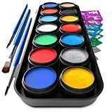 Vibrant Face and Body Paint Kit - Magical Set of 14 Colors w / 3 Brushes Includes 10 Stunning Colors and 4 Gorgeous Metallics for All your Face and Body Art - Non-Toxic & FDA Compliant w / 60 Stencils