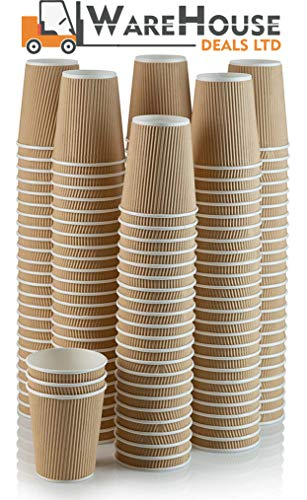 100 X 8oz Disposable Kraft Paper Cups for Hot and Cold Drinks, Triple Walled Ripple Cups for Coffee, Tea and Other Drinks Hot and Cold Disposable Tableware