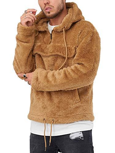 behype. Herren Teddy-Fell Kapuzen-Pullover Sweatshirt weicher Hoodie mit Kapuze Fleece-Jacke 40-4735 Braun XXL