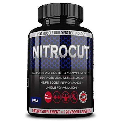 Nitrocut Pre Workout Supplement -120 Capsules - Nitric Oxide Supplements - l arginine - l citrulline - Premium Ingredients - Increase Blood Flow - Boost Muscle Growth