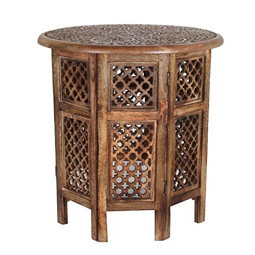 Casa Moro Orientalischer Beistelltisch Hamza Ø 52 cm rund H 54 cm aus Mango Massivholz braun handgeschnitzt | Handmade Couchtisch Vintage Sofatisch | NH-5326-A