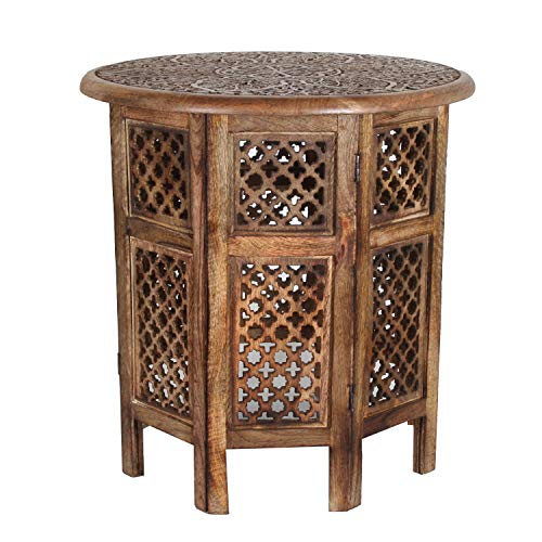 Casa Moro Hamza Oriental Side Table Diameter 52 cm Round Height 54 cm Made of Mango Solid Wood Brown Hand Carved Handmade Coffee Table Vintage Sofa Table NH-5326-A