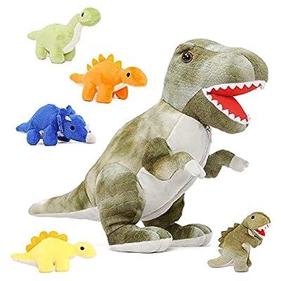 Muiteiur Dinosaur Stuffed Animal Soft Plush T-Rex Zippered Belly Inside with 5 Cute Baby Dinosaur Great Gift Set for Kids,19.6inch by Muiteiur