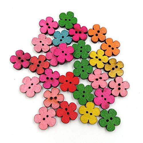 100 pcs mixtes Prune Fleur Boutons en bois 2 trous coudre Scrapbooking Décoration – Couleur aléatoire