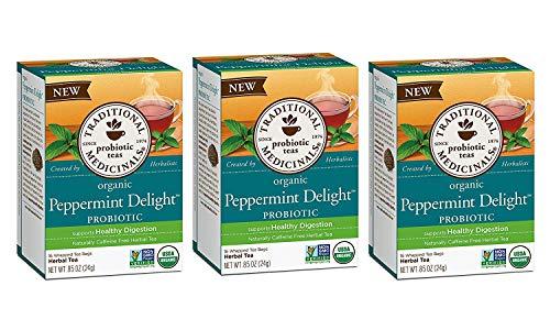 Traditional Medicinals Organic Peppermint Delight Probiotic Tea, 16 Tea Bags (Pack of 3)
