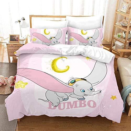 POMJK Dumbo - Juego de ropa de cama (2 fundas de almohada, 100 % microfibra, impresión digital 3D, anime, juego de 3 piezas (A02, King220 × 240 cm + (80 cm × 80 cm) × 2)