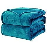 WAVVE Manta Franela Reversible 150x200 cm para Cama 90, Manta de Sofá 100% Microfibra, Suave, Caliente, Transpirable para Hogar, Oficina, Viaje Verde Azulado