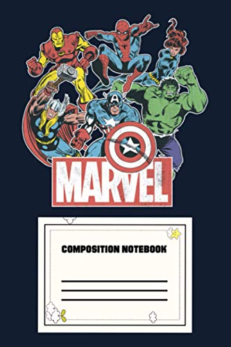 Marvel Avengers Team Retro Comic Vintage Graphic IP Notebook: 120 Wide Lined Pages - 6