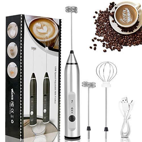 RATEL Montalatte Ricaricabile, Electric Battery Handheld Drink Mixer Foam Maker Regolabile a 3 velocità con 1 frullino a Molla in Acciaio Inox, 2 frullini a Spirale in Acciaio Inox per caffè, Latte