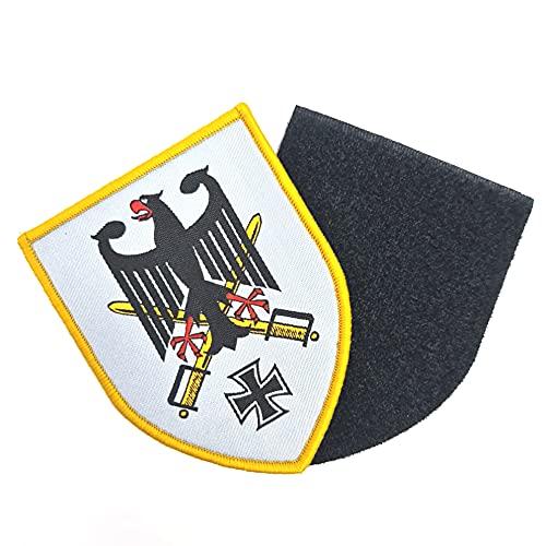 Mittelalter Adler Ritter gekreuzte Schwerter Eisernes Kreuz Wappen Fahne Flagge Großer Aufnäher ca. 9cm x 6,5cm Patch mit Flauschseite 2tlg