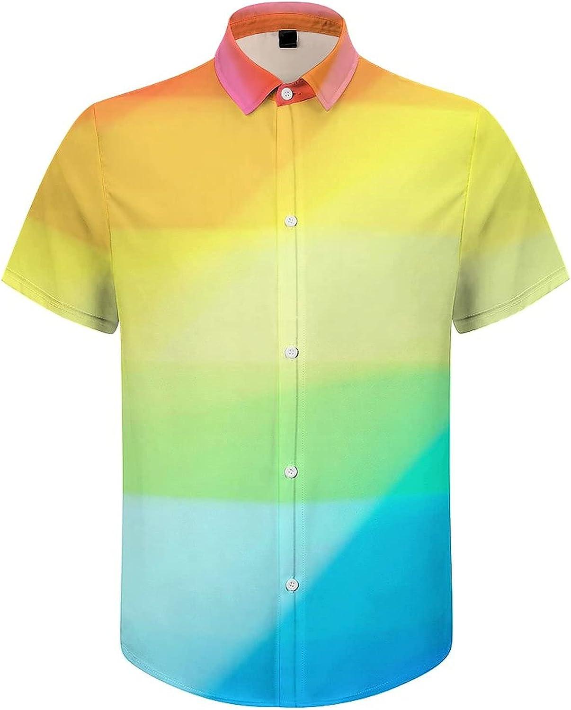 Men's Short Sleeve Button Down Shirt LGBT Sparkling Flag Summer Shirts