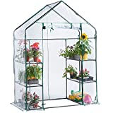 VonHaus Compact Walk In PVC Plastic Greenhouse with 6 Shelves – Roll Up Zip Panel Door, Easy No Tool Assembly