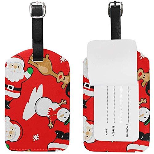 Feliz Navidad Santa Muñeco de Nieve Ciervo Imprimir Etiquetas de Equipaje ID de Viaje Etiqueta de Maleta para Maleta 2 Piezas