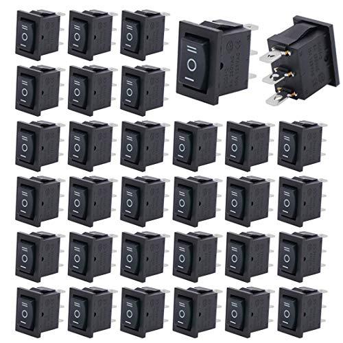 Gebildet 20pcs 250V-110V-36V-24V-12V/6A SPDT 3 Pines 3 Posiciones ON/Off/ON Autoblocante Interruptor Basculante Negro