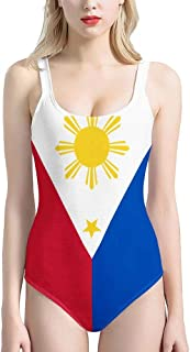 Foruidea Philippines Flag One Piece Swimsuits UV Protection Bathing Suit Swimwear for Women