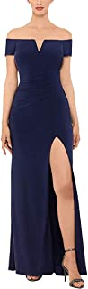 Petite Off-The-Shoulder Ruched Gown, Navy, 14