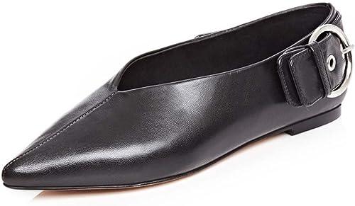 JIANXIN Femmes Sandales Chaussures Grand-Maman Plat Conseils Chaussures Chaussures Rétro Mot Bouton V Embouchure Cuir Souple Chaussures en Cuir (Taille   37)  livraison et retours gratuits