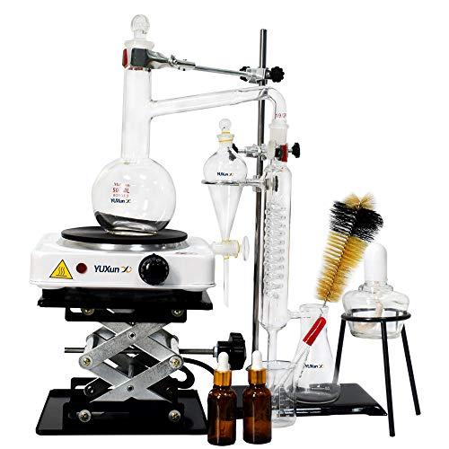 1000ml Essential Oil Distillation Apparatus Lab Glassware Kits Steam Water Distiller Purifier Kits w/Separating Funnel Graham Condenser Flat Bottom Flask and Electric Hot Burner 110V (1000ML)