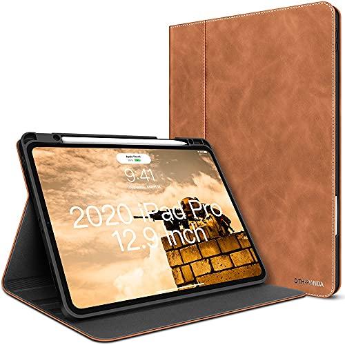 iPad Pro 12.9-Zoll Hülle 4. Generation Ledertasche 2020/2018 mit Pencil Halter - Minimalistisches Folio mit stilvollem Hülle Automatisches Einschlafen/Wecken (Aschbraun)