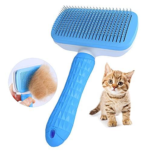 Katzenbürste, Katzenburste Selbstreinigende Fellbürste für Hunde und Katzen, entfernt sanft lose Unterwolle, Matten verhedderte Haare, Zupfbürste für Haustier-Massage-Self Reinigung