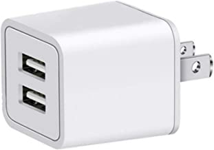Charger, Quick Charging 2.4A 10W Universal Dual Adapter 2-Port USB Portable Travel Adapter for iPhone, iPad, Samsung Galaxy, Nexus, Bluetooth Speaker Headset & Power Bank (2-Pack) (White)