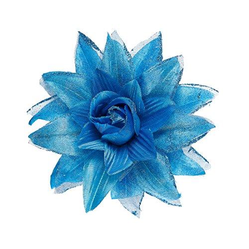 NET TOYS Rosen Haarblüte Hawaii Haarspange blau Blumenspange Kopfschmuck Haarblume Ansteckblume Rose Blumen Haarschmuck