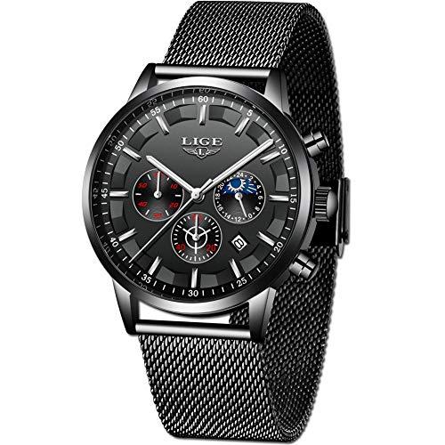 LIGE Relojes Hombres Moda Negro Acero Inoxidable Analógico Cuarzo Relojes Hombres Impermeable Deporte Cinturón de Malla Relojes