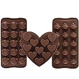 3 Stück Silikon Schokoladenform Schwein & Poop Emoji & Herz Pralinenform Eiswürfelform für Schokoladen, Gelee, Kuchen und Eiswürfel Braun