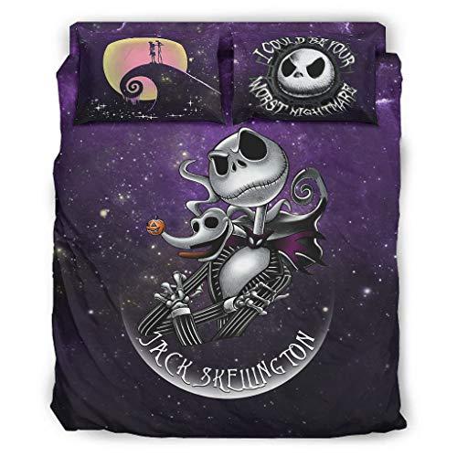 Ropa de cama Jack Nightmare Comfort Home Europeo Patrón Negro Decorativo Cama Almohada Juego Blanco 240x264cm