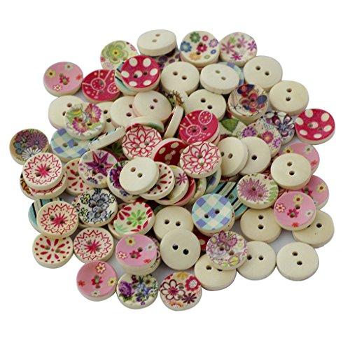 100pz Colori Dipinte Bottoni Di Legno Rotonda Fai Da Te Per Cucito E Lavorazione