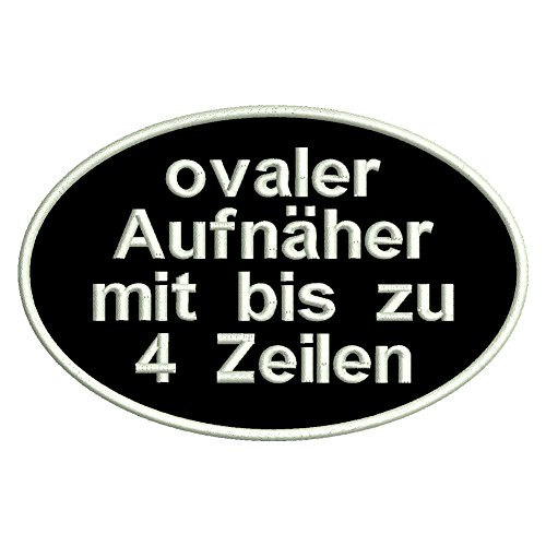 Smart Aufnäher Oval - Ovaler Aufnäher mit deinem eigenem Text - verschieden Größen (ca. 6x4cm)