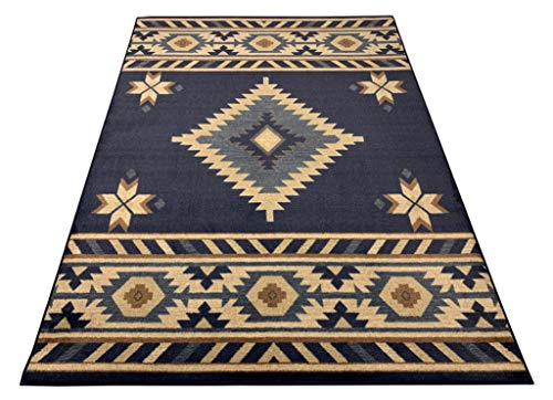 Nevita Collection Southwestern Native American Design Area Rug Southwest Design Rugs Geometric South West Pattern (Navy Blue, 8 x 10)