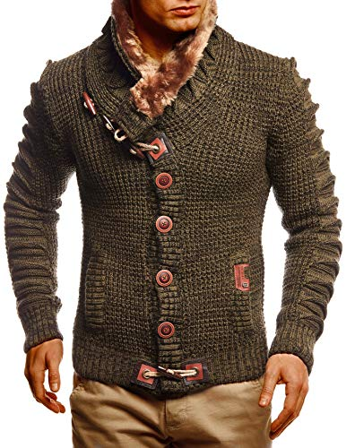 Leif Nelson Herren Strickjacke Männer Jacke Moderne Freizeitjacke Stylische Übergangsjacke Winterjacke LN5585 Large Khaki Schwarz