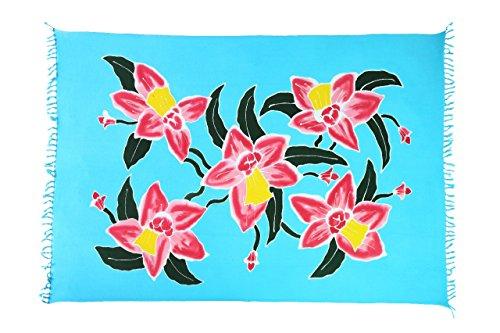 Ciffre Original Yoga Sarong Pareo Wickelrock Strandtuch Rund ca 170cm x 1110cm Handtuch Schal Kleid Wickeltuch Wickelkleid Blume Ibiza Style Türkis