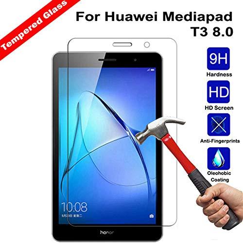 YHWW Protector de Pantalla Vidrio Templado para Huawei MediaPad T3 8.0 KOB-W09 KOB-L09 Protector de Pantalla Tablet Película de Vidrio Templado para Honor Play Pad 2 8, Transparente