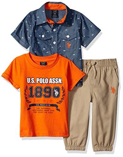 U.S. Polo Assn. Baby Boy's T-Shirt, Sport Shirt and Pant Set Pants, Khaki Jogger Multi Plaid, 18M