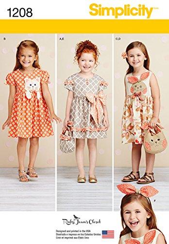 Simplicity 1208Größe EIN Kind 's Kleider/Geldbörse, auf Haarband Schnittmuster, Mehrfarbig