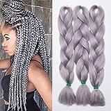 24'(60cm) Pelo Sintetico para Trenzas Africanas Extensiones de Cabello Jumbo Braids Crochet Braiding Hair Extensions 3 Piezas Gris