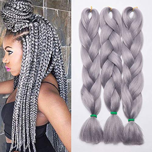 3pcs/300g 24inch Synthetic Ombre Jumbo Braiding Hair Extensions African Box Braids Crochet Twist Braided Hair Extension Grey